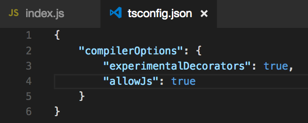 tsconfig.json for experimentalDecorators warning in VScode